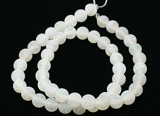 Agate Craquelée Blanc 8mm - 47 perles par fil