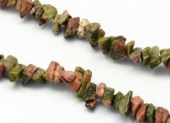 Unakite chips / rocailles 3-9mm - 315 perles par fil