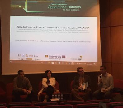 Francisco Viseas Trinidad (CHG), Rosa Nunes (ICNF/DRCNF - Algarve), André Matoso (APA), Jorge Revez (ADPM) en la sesión de apertura de las Jornadas Finales del Proyecto VALAGUA.