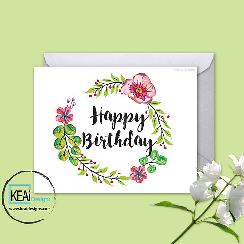 Floral Wreath - HAPPY BIRTHDAY