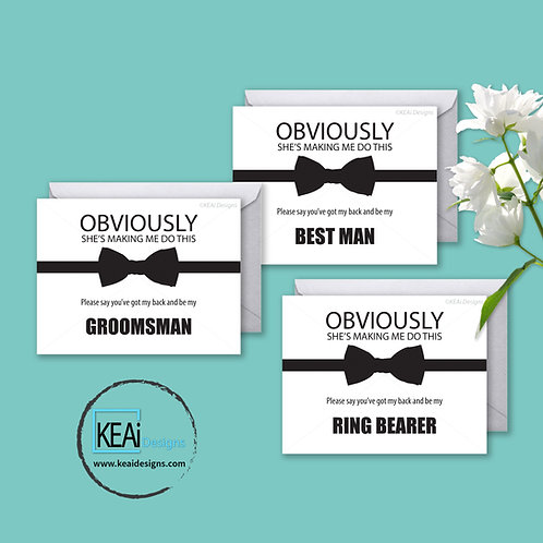 Bow Tie - BUNDLE - Will you be my *BEST MAN, GROOMSMAN, RING BEARER*