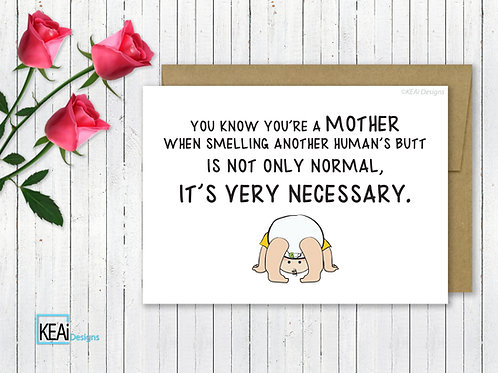 "5X7 Funny Card for ""New Moms""or ""Baby Shower"""