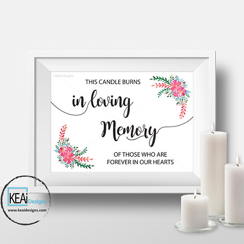 "8x10 ""In Loving Memory"" SIGN"
