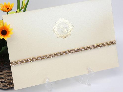 Convite Puck - Marfim e Dourado