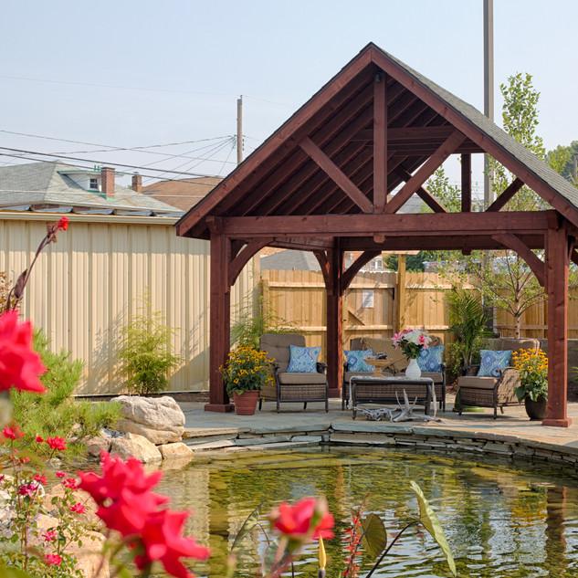 14'x14' Alpine Cedar Wood Pavilion, Maho