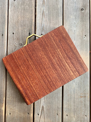 Old Growth Mahogany Cutting Board with Brass Handle