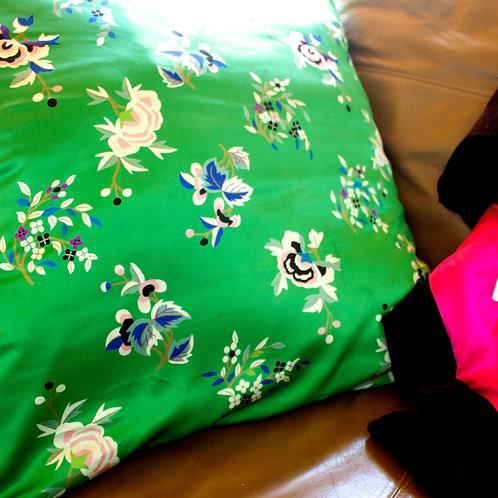 Emerald floral silk pillow case