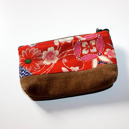 Japanese vintage kimono fabric mini purse