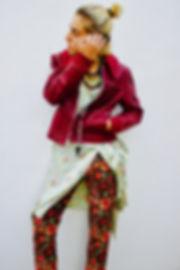 JULIA KOO, silk, kimono dess, juxtapose, red, blessing beads, pants