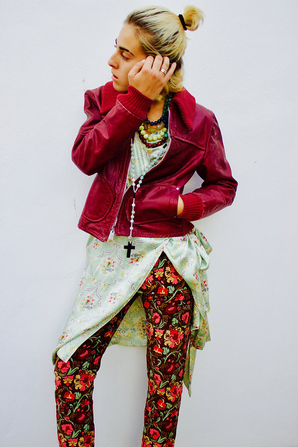 JULIA KOO, silk, kimono dess, juxtapose, red, blessing beads, pants