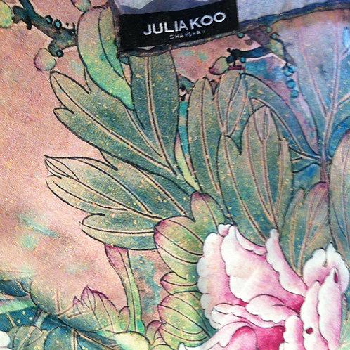 Silk floral cashmere pashmina wrap - peonie