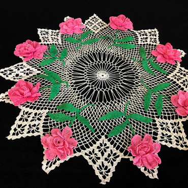 """Hi there, yes - it is a pretty doily. I believe I got it at an estate auction in Sylvan Grove, Kansas but can't remember the name of the estate any longer."""