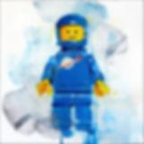 Lego minifigure blue spaceman print by James Paterson