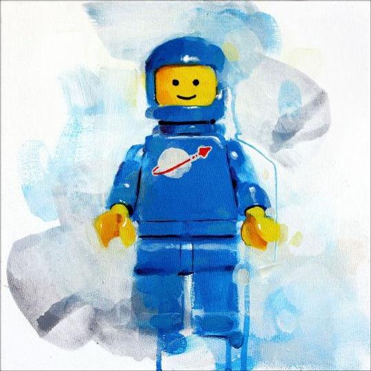 Lego minifigure blue spaceman print by James Paterson