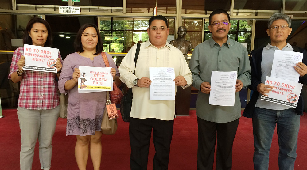 Makabayan Legislators Congressman Ariel Casilao of Anakpawis Partylist and Congressman Isagani Carlos Zarate of Bayan Muna with Renmin Vizconde of Philippine Network of Food Security Programmes and Eloisa Delos Reyes and Cris Panerio of Masipag, Inc.