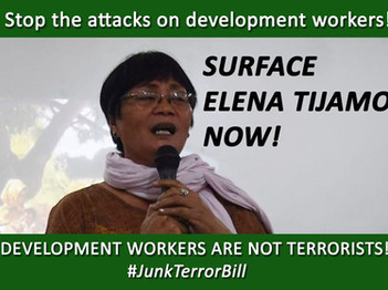 STOP THE ATTACKS ON DEVELOPMENT WORKERS! SURFACE ELENA TIJAMO NOW!