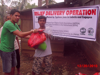 Distributing Relief Packs in Isabela