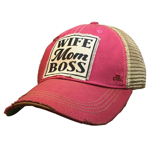Mom Wife Boss Distressed Cap-Hot Pink