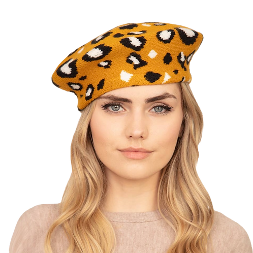 Mustard Leopard Beret