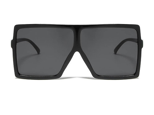 Flat Top Square Oversize Retro Sunglasses-Black