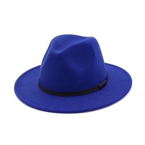 Double Leather Ribbon Fedora-Royal Blue