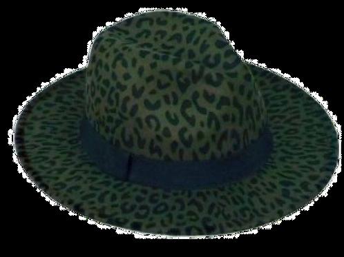 Olive Leopard Print Fedora