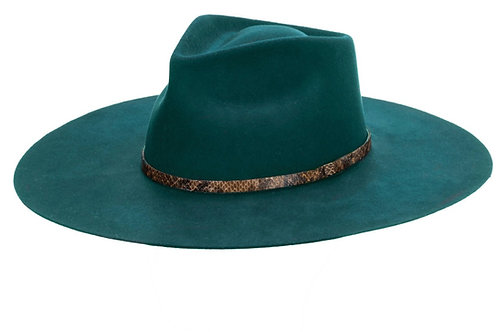 XL Flat Wide Brim Fedora with Snake Embossed Band (Forest)