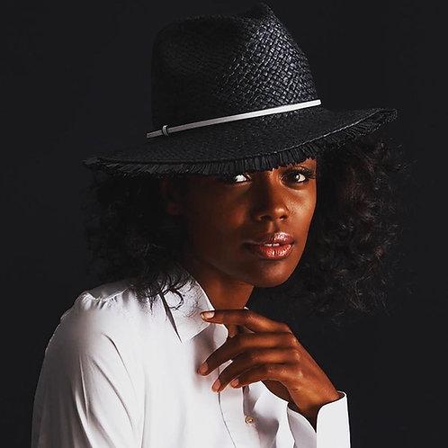 Black Raffia Fedora with Fringe Edge