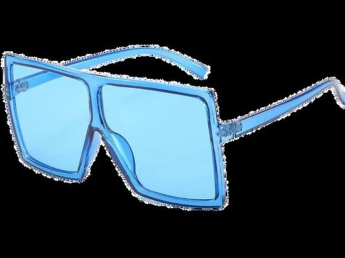 Flat Top Square Oversize Retro Sunglasses-Blue