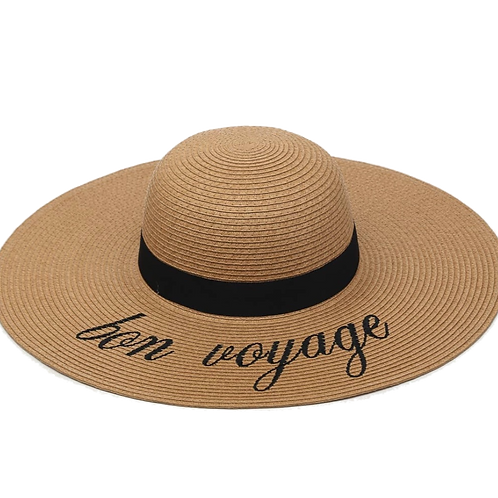 """BON VOYAGE"" Natural Seagrass Hat"