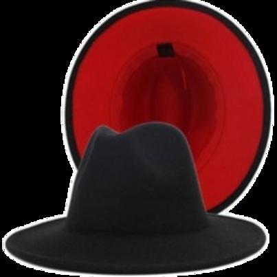 Black Red Bottom Fedora