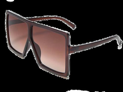Flat Top Square Oversize Retro Sunglasses-Brown