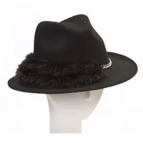Faux Fur and Chain Fedora