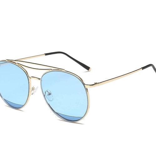 Round Aviator Sunglasses-Blue
