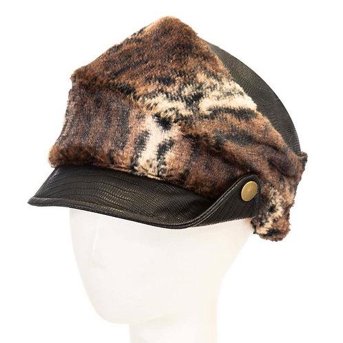 Faux Fur Leopard Cap