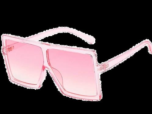 Flat Top Square Oversize Retro Sunglasses-Pink