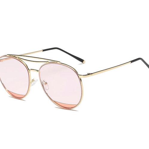 Round Aviator Sunglasses-Light Pink