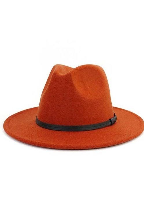 Double Leather Ribbon Fedora-Orange