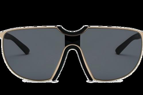 Large Oversize Aviator Sunglasses-Gold/Smoke