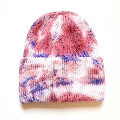 Tie Dye Beanie-Purple/Pink