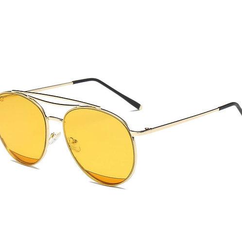 Round Aviator Sunglasses-Yellow