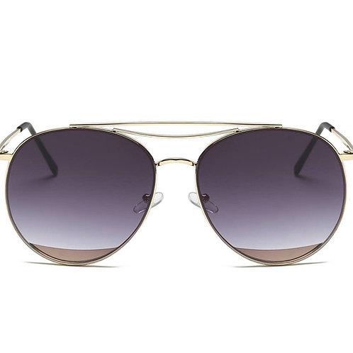 Round Aviator Sunglasses- Gradient Purple