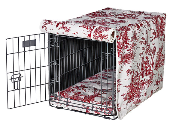 Raspberry Toile Crate Cover