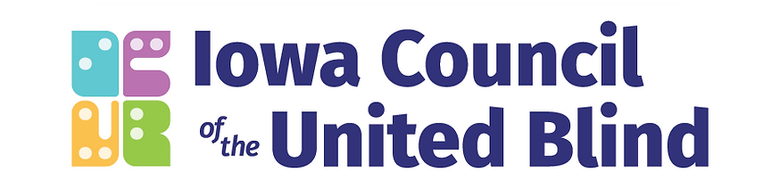 Iowa Council of the United Blind Logo - Abstract icon with four sections in teal, purple, orange and green, each representing the letters I C U B and each containing braille dots representing that letter. Next to that, the words Iowa Council of the United Blind in Dark Blue.