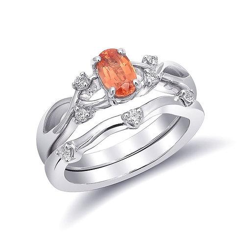 14k White Gold 0.93ct TGW Certified Padparadscha Sapphire Diamond Bridal Set