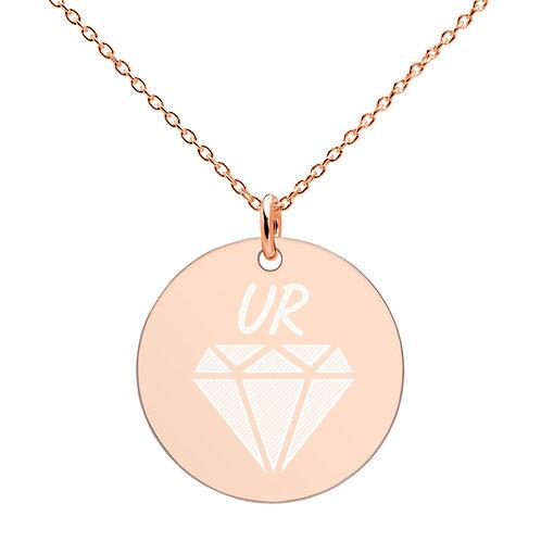 UR Diamond Engraved Silver Disc Necklace