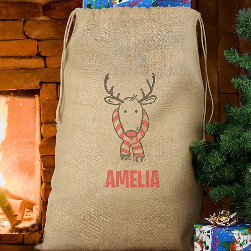 Reindeer Jute Christmas Sack