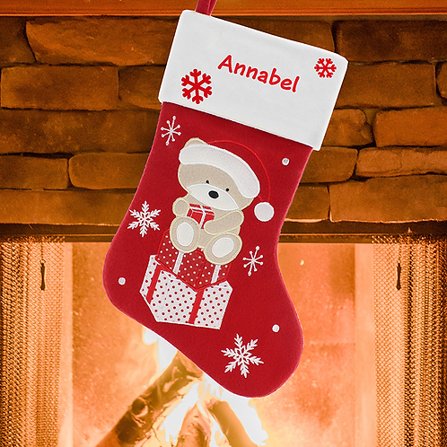 Personalised Christmas Teddy Stocking