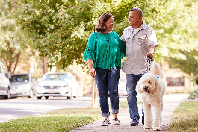Senior Couple Walking Dog Along Suburban