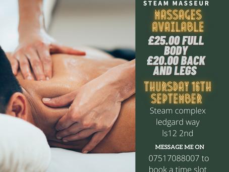 Steam Masseur Special Thu 16th September